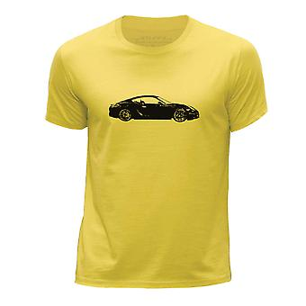 STUFF4 Boy's Round Neck T-Shirt/Stencil Car Art/Carrera GT15/Yellow