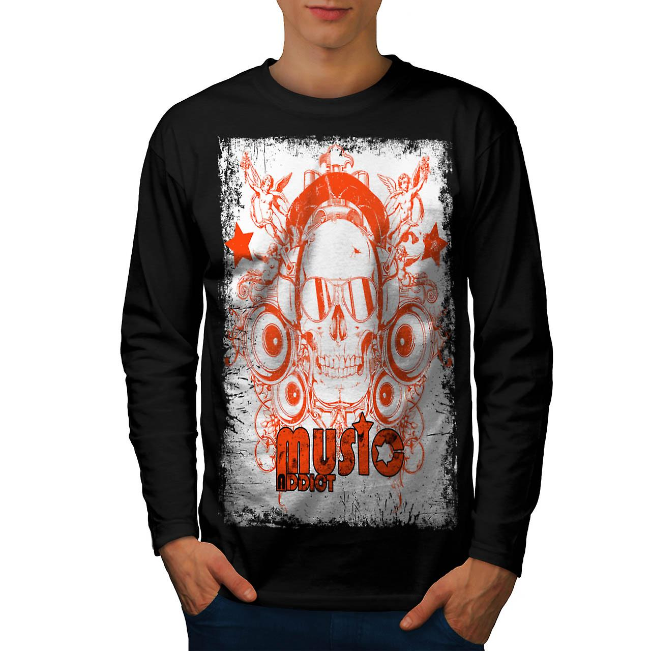 DJ Music Addict Beats Rave Skull Men Black Long Sleeve T-shirt | Wellcoda