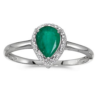 14k White Gold Pear Emerald And Diamond Ring