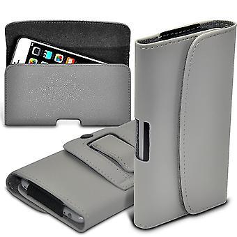 ONX3 (Grey) Kodak Ektra  Case Premium Horizontal Faux Leather Belt Holster Pouch Cover Case