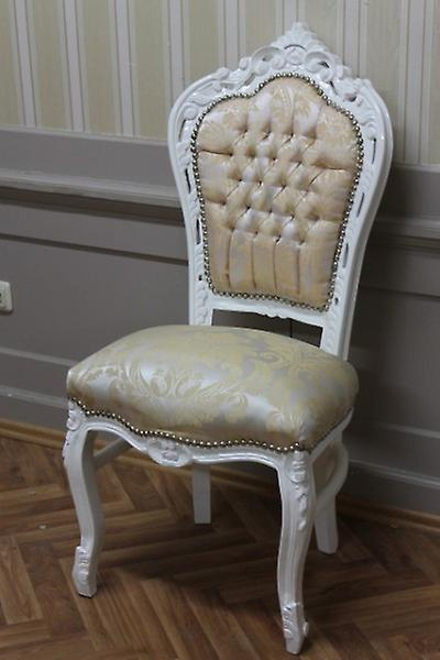 Baroque chair white frame beige fabric