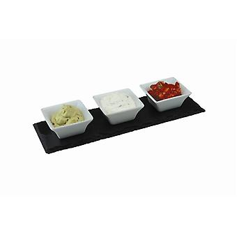 Slate Meze Set with 3 Porcelain Bowls