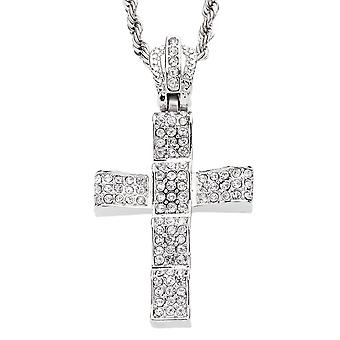 Iced out bling mini chain - WAVED CROSS