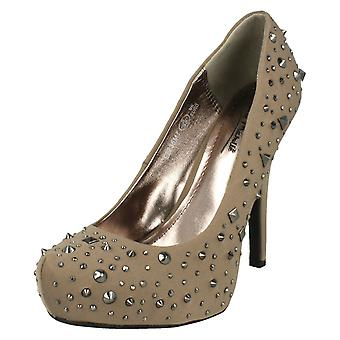 Ladies Anne MIchelle Platform Court Shoes with Stud Detail