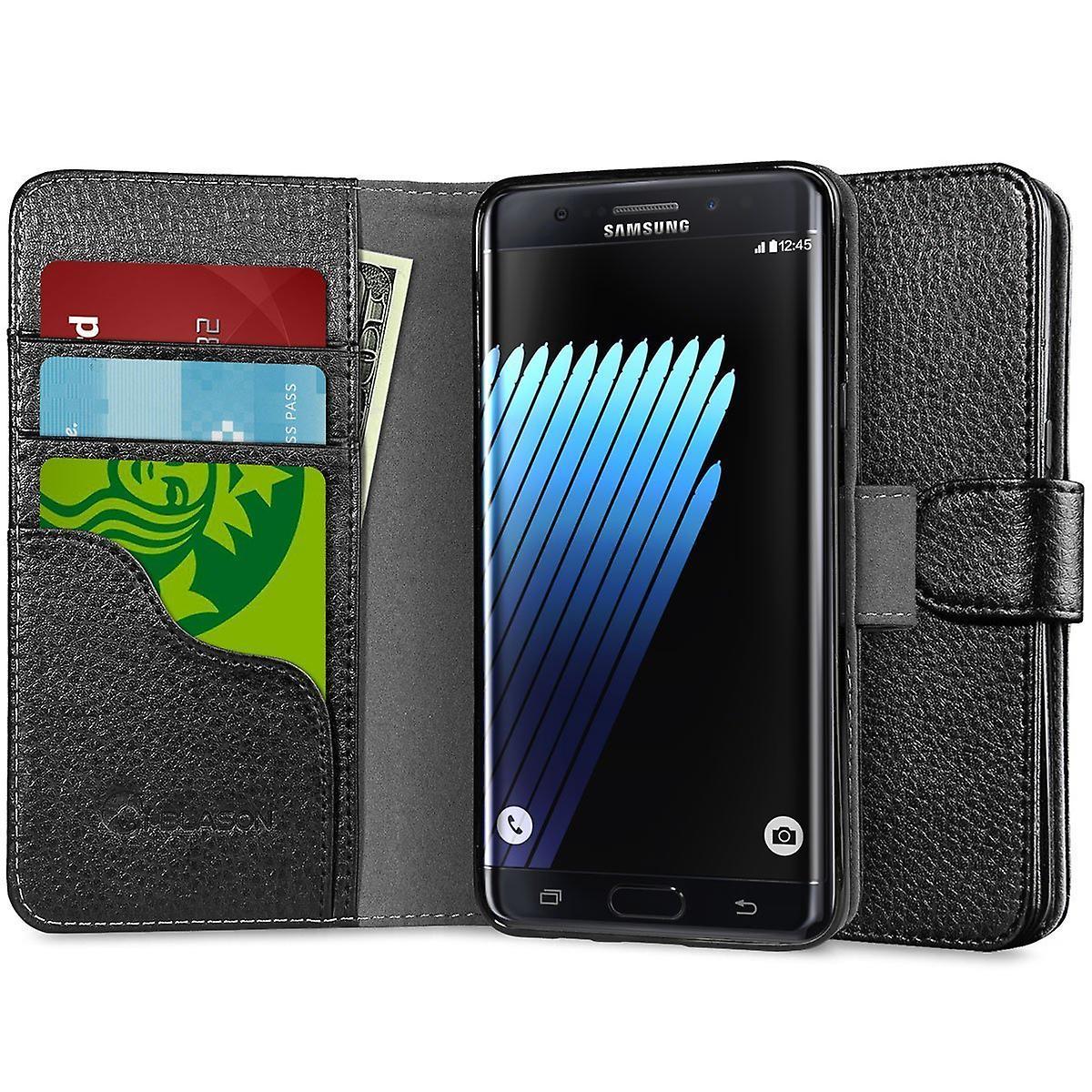 i-Blason-Galaxy-Note 7 Case-Leatherbook Wallet-Black