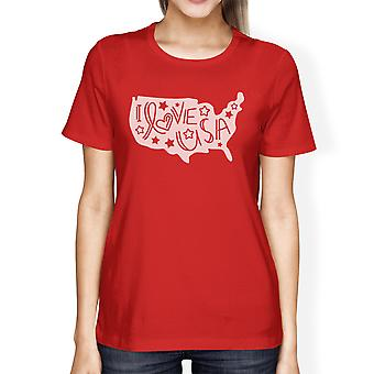 I Love USA Womens Red T-Shirt For Independence Day Cute Design Top