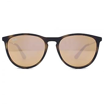 Ray-Ban Junior Izzy Keyhole Round Sunglasses In Havana Rubber Light Brown Pink Mirror