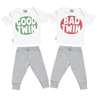Spoilt Rotten Good & Bad Twin Baby T-Shirt & Baby Jersey Trousers Twins Outfit Set
