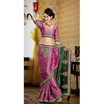 Dayanita tief rosa Faux Crepe Luxus Party tragen Sari saree