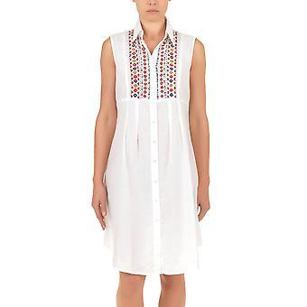 Iconique IC7-030 Frauen weißen Azteken bestickten Leibchen Strandkleid