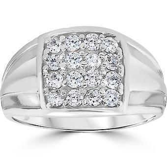 1 cttw ダイヤモンド メンズ リング 10 k ホワイトゴールド
