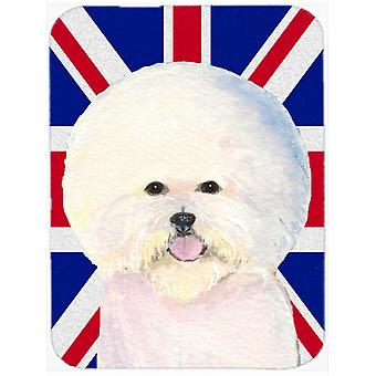 Bichon Frise with English Union Jack British Flag Glass Cutting Board Large Size