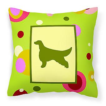 Lime Green Dots Irish Setter Fabric Decorative Pillow