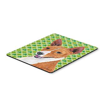 Basenji St. Patricks Day Shamrock Portrait Mouse Pad, Hot-Pad oder Untersetzer