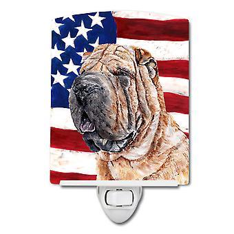 Shar-Pei mit amerikanische Flagge USA Keramik Nachtlicht