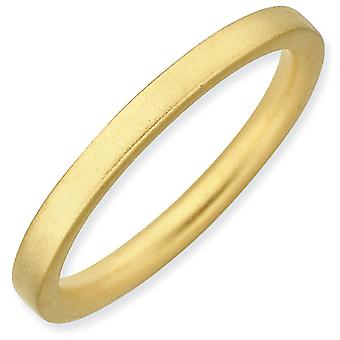 Sterling Silver Stackable Expressions Gold-Flashed Satin Ring - Ring Size: 5 to 10