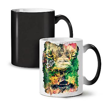 Lion Zion Cat Face NEW Black Colour Changing Tea Coffee Ceramic Mug 11 oz | Wellcoda