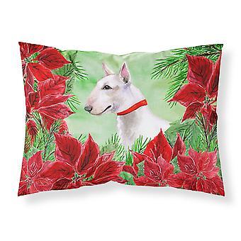 Bull Terrier Poinsettas Fabric Standard Pillowcase