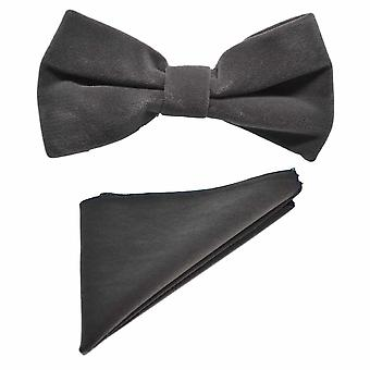 Dark Silver Grey Velvet Bow Tie & Pocket Square Set