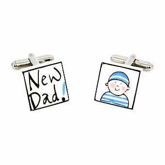 Sonia Spencer New Dad - Boy Cufflinks - English Bone China Hand Crafted Cuff Links