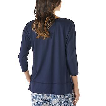 Mey 16806-408 kobiet Night2Day Night niebieski kolor Solid piżamy 3/4 rękaw Piżama kolor górnej