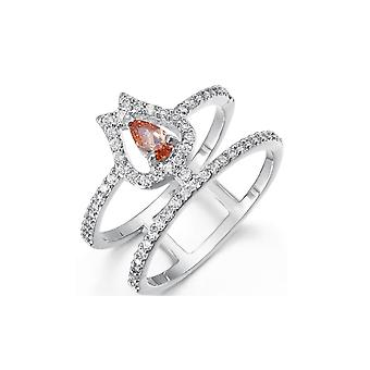 Ring adorned with Crystal of Swarovski White and Orange and Rhodium Plated