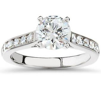 2 1/2ct Cathedral Channel Set Diamond Engagement Ring 14K