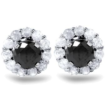 1ct zwarte Spinel hengsten & Diamond Halo Earring jassen 14K White Gold