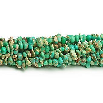 60 + grüne Eindruck Jasper ca. 8 x 12mm gefärbt glatt Nugget Perlen CB41842-1