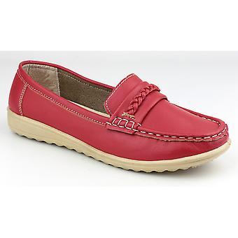 Höstjakter damer Thames Slip på Moccasin stil sko röd