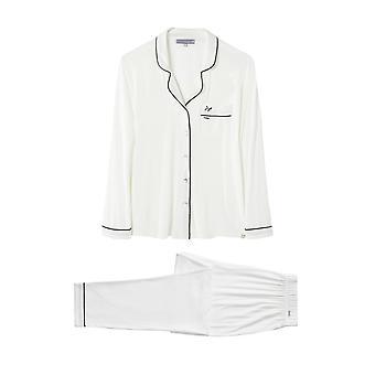 Bamboo Long Trouser Pyjama Set White