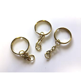 SALE - 100 Gold Keyrings with Chain & Soft-Opening Jump Ring