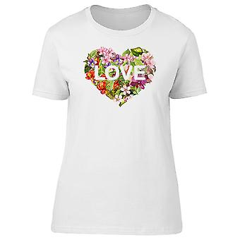 The Word Love In Floral Heart Tee Women's -Image by Shutterstock