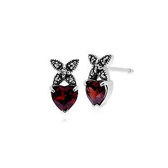 Gemondo Sterling Silver Garnet & Marcasite January Stud Earrings