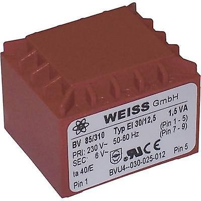 PCB mount transformer 1 x 230 V 1 x 24 V AC 1.50 VA 63 mA