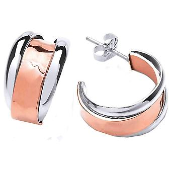 Cavendish French Hammered Hoop Earrings - Silver/Copper
