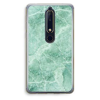 Nokia 6 (2018) Transparent Case (Soft) - Green marble