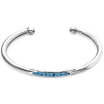 Anchor and Crew Trent Silver and Rope Bangle - Blue Noir