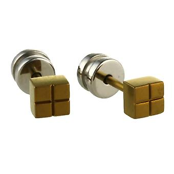 Ti2 Titanium Square Stud Earrings - Tan Beige