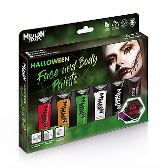Moon Terror - Halloween Face Paint for the Face & Body - 12ml - Create spooky face paint designs! Perfect for vampire, ghost, skeleton, witch, pumpkin, monster etc - Gift Set