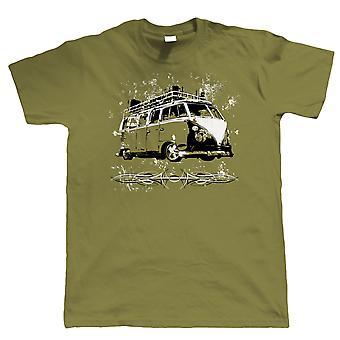 Split Screen Rat Camper Van T Shirt - Vee Dub Surfing Hood Ride - Gift for Dad