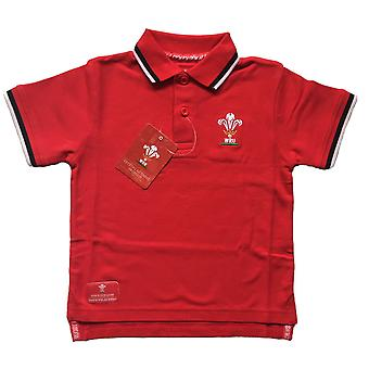 Wales WRU Rugby Kids Pique Polo-Shirt | Rot