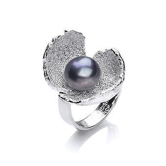 Cavendish fransk sort perle og sølv krokus Ring