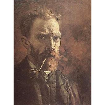 Self-portrait with Pipe, Vincent Van Gogh, 46x38cm