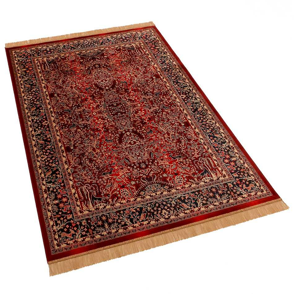 Large Red Artificial Faux Silk Effect Persian Tree of Life Rugs H262/12 160 x 230cm