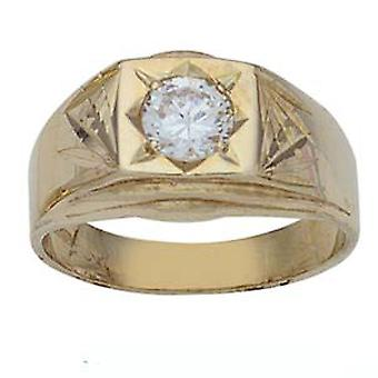 9ct Gold square diamond cut shoulders set with 6mm CZ Dress Ring Size R