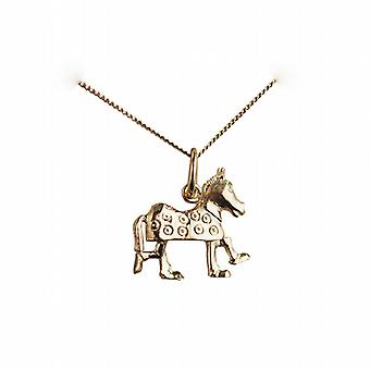 9ct Gold 13x15mm Pantomime Horse Pendant with a curb Chain 16 inches Only Suitable for Children