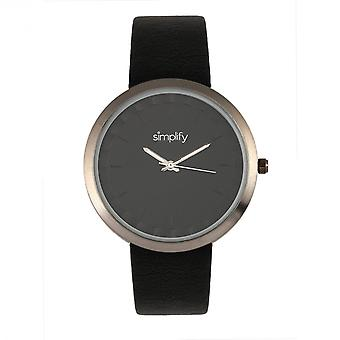 Simplify The 6000 Leather-Band Watch - Gunmetal/Black
