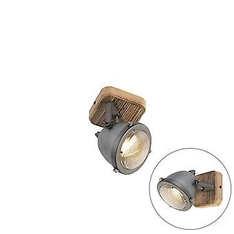 QAZQA proyector robusto chamuscada de acero con Base de madera - Emado