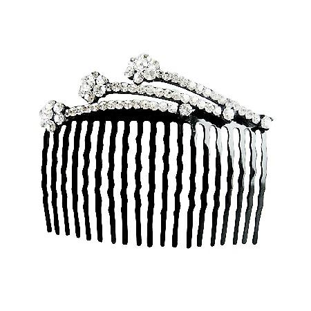Comb Hair Pin White Crystals Decorated Perfect For Bridal Bridesmaid